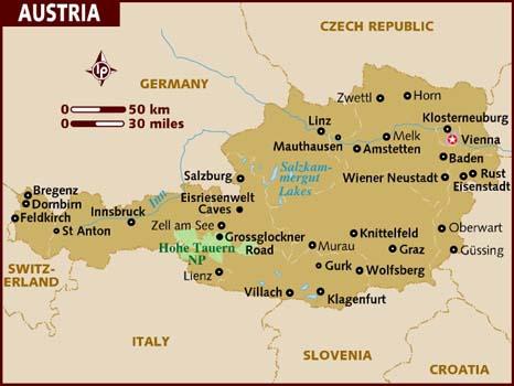 Andorreando mapa de Austria