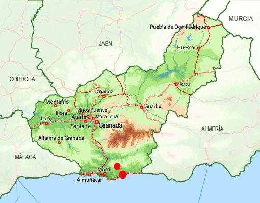 Mapa Castell Ferro, Gualchos